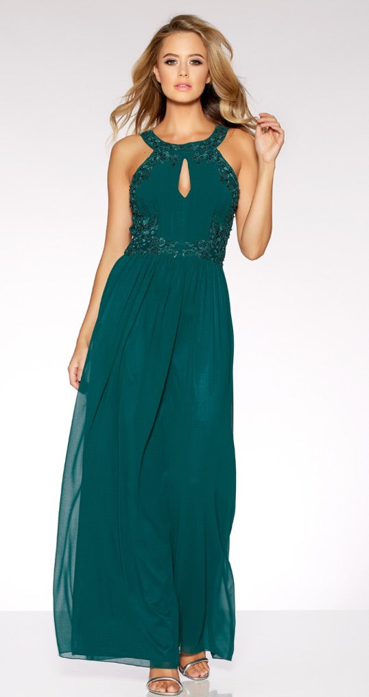 Bottle Green Chiffon Embellished Maxi Dress