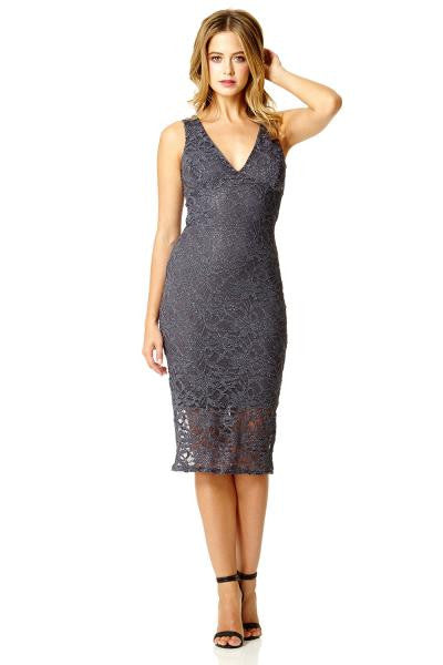 Grey Lace Glitter Midi Bodycon Dress