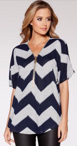 Grey and Black Zig Zag Light Knit Zip Front Top