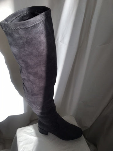 Grey suede long boot