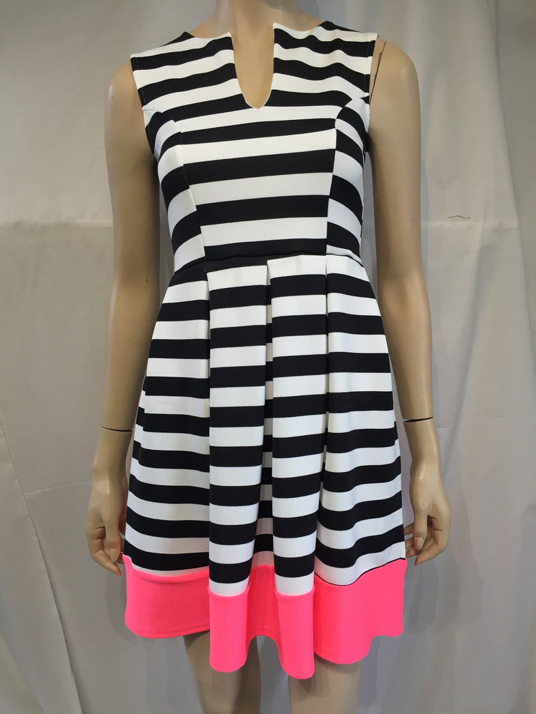 Striped Black/White Dress with Pink Bottom