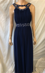 Navy, High neck with small key hole across chest, Floaty Prom style.
