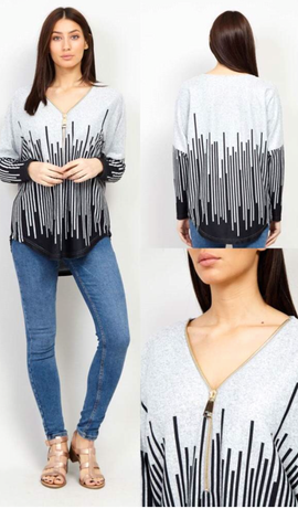 Grey Long Sleeved Top with Zip Accessory at Neck Line and Black Strobe Line Pattern