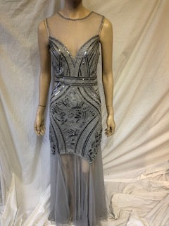 Grey/ Silver dress, Silver Gems with grey/silver mesh top short sleeved and mesh drop at the bottom of the dress