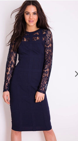 Navy Grid Lace Long-sleeve Bodycon Dress