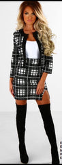 Black and White Checkered Two Piece Blazer and Skirt Set