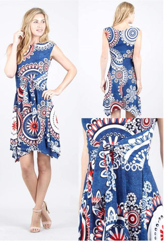 Blue, White and Red Patterned Midi Dress With Dipped Hem