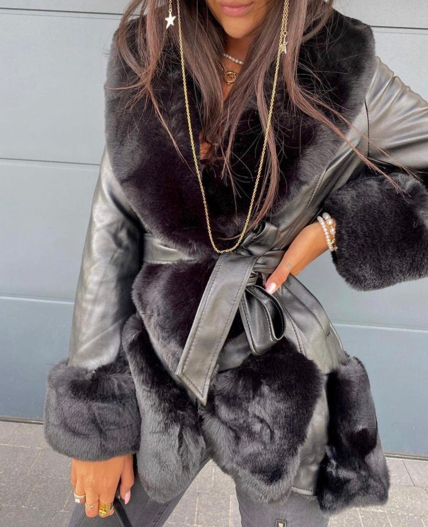 Black PVC Fur jacket
