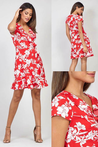 Red and White Floral Midi Dress