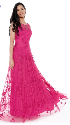 Pink High Neck Chiffon Prom Style Dress
