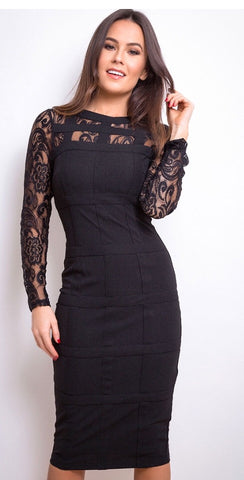 Black Lace Grid Long Sleeve Bodycon Dress