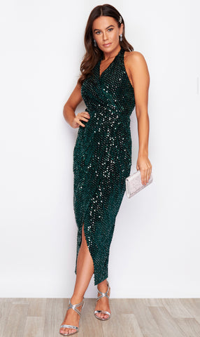 Emerald Green Maxi Dress With Sequin Pattern