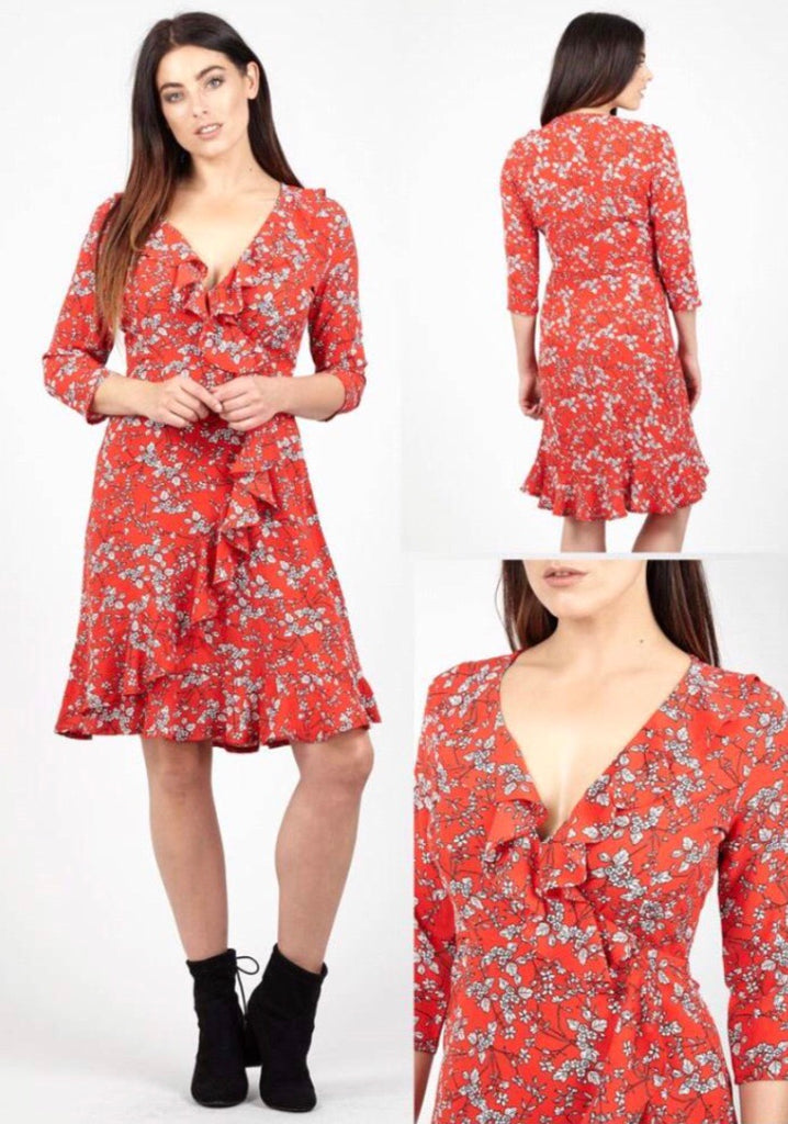 Red Dress with White Small Floral Pattern and Frill Edge