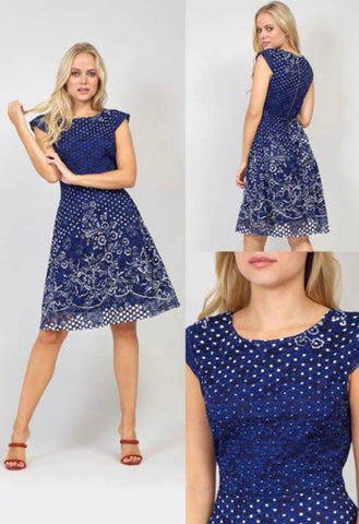 Navy Midi Dress With Floral Pattern