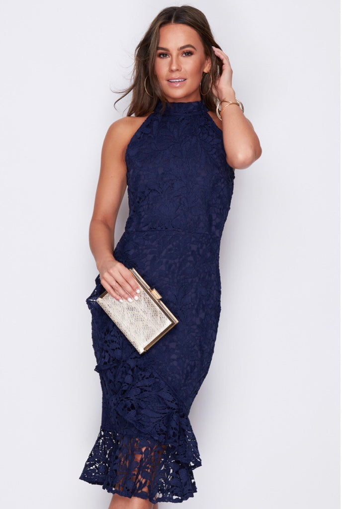 Blue midi lace dress