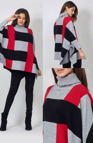 Red, Black and grey striped jumper.