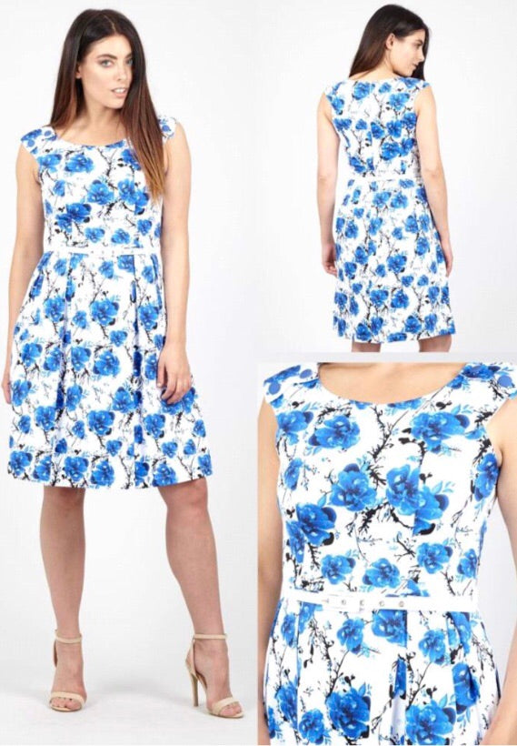 White and Blue Dress with Floral Pattern