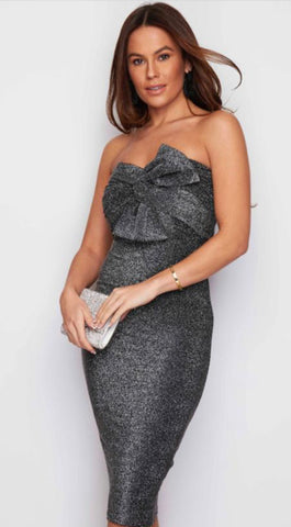 Grey Sparkle Dress With Bow Accessory