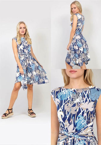 Floral dipped hem dress