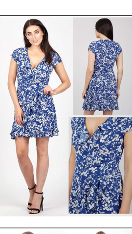 Blue and White Floral Pattered Dress