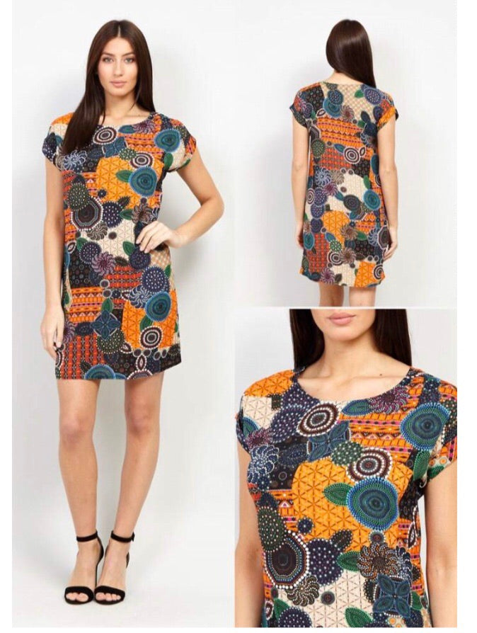 Multi-coloured  Dress With Abstract Pattern