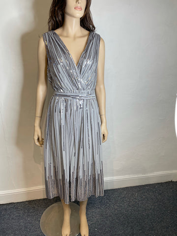 Silver V neck shift dress