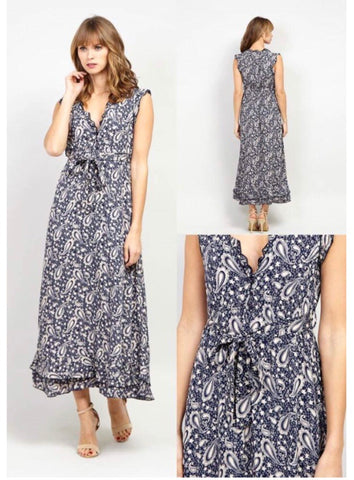 Navy and White Maxi Dress with Tie Waist