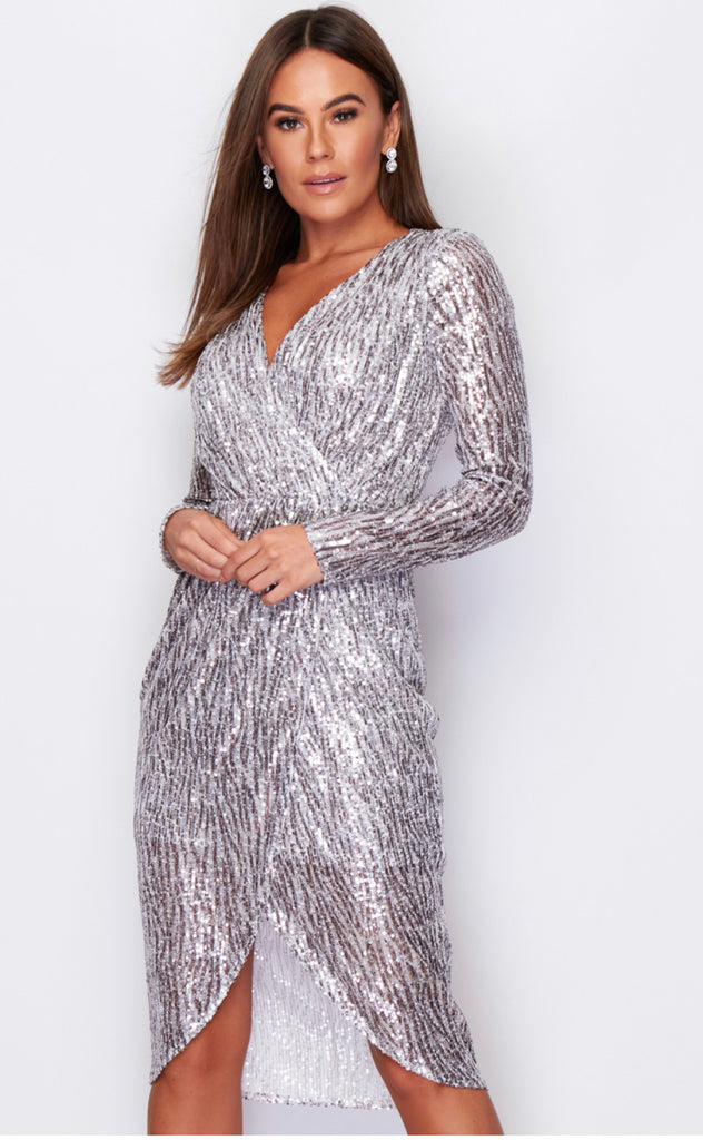 Silver Long Sleeved, Sequin Patterned Midi Dress