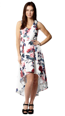White and Pink Floral Patterned High Low Dress With V-Neck
