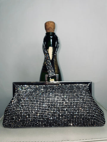 Black diamonte clutch bag