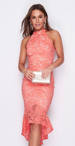 Coral and Beige High Neck Dress