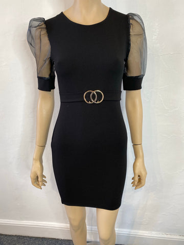 Black mesh sleeved dress