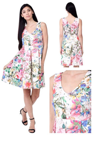 White with Multi Colour Floral Pattern Dress