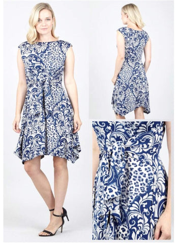 Blue and White Dipped Hem Patterned Dress