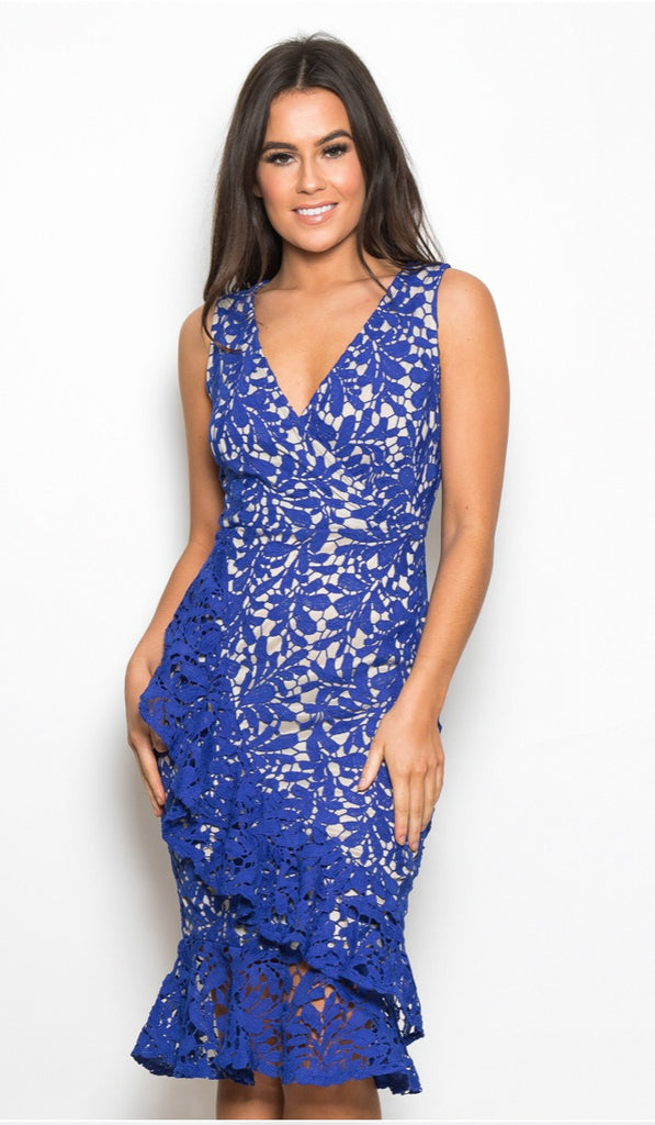 Royal blue and cream midi dress