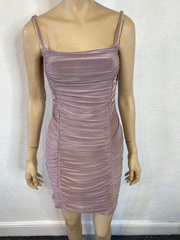 Light purple ruched bodycon dress