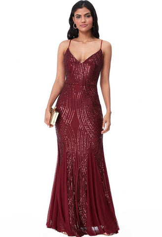 Red Spaghetti Strap Maxi Dress With Sequin Detail