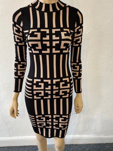 Black and brown pattern bandage dress