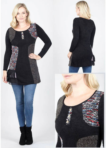 Multicoloured patterned tunic