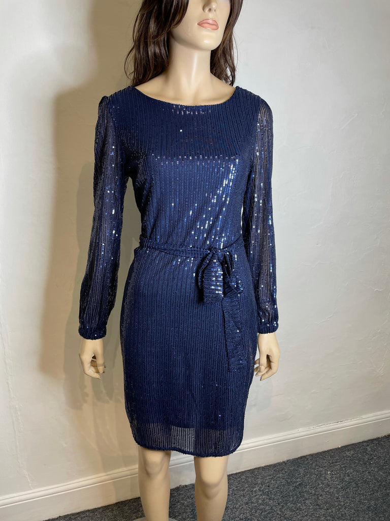 Royal Blue Sequin tie dress