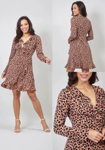Long Sleeved Cheetah Print Midi Dress