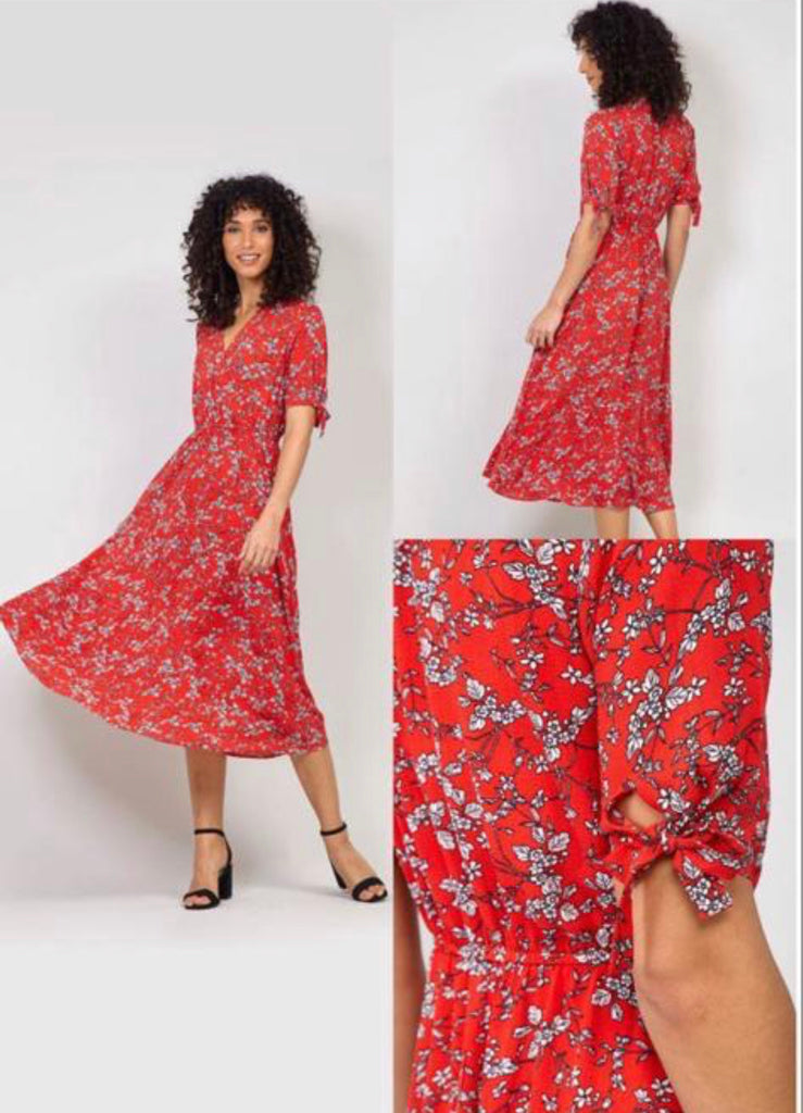 Red Maxi Dress with Floral Print