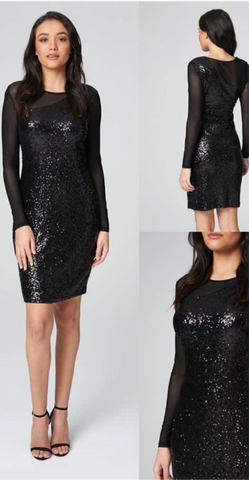 Long sleeved black sequin dress