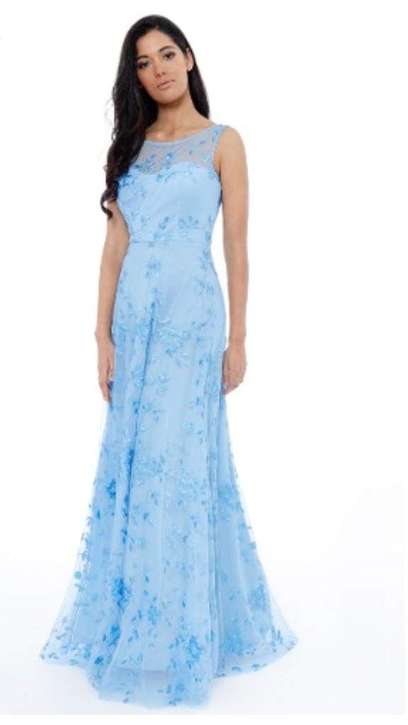 Light Blue High Neck Chiffon Prom Style Dress