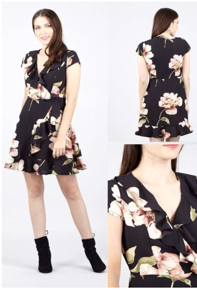Black, White and Pink Floral Midi Dress