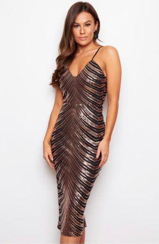 Rose Gold and Black Spaghetti Strap Maxi Dress