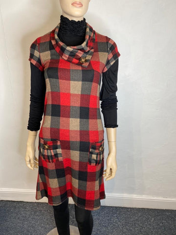 Red and black tartan tunic