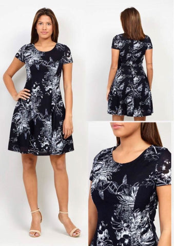Navy Midi Dress with White Leaf Pattern