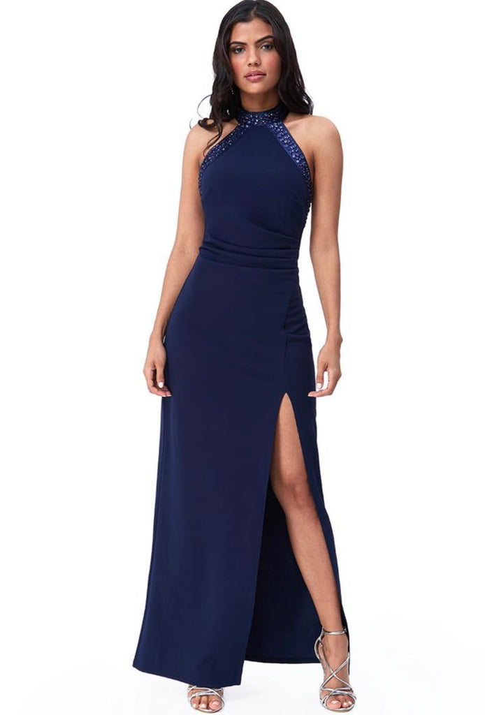 Navy High Neck Maxi Dress With Split and Gem Detail on Neck