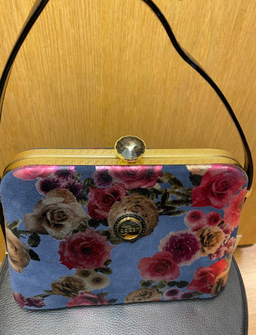 Light Blue Bag With Red Floral Pattern